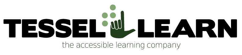 TesselLearn logo with  Braille T and ASL handshake L